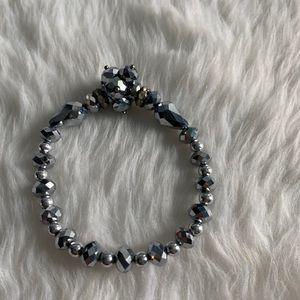 NEW Silver sparkle cluster beaded stretch bracelet